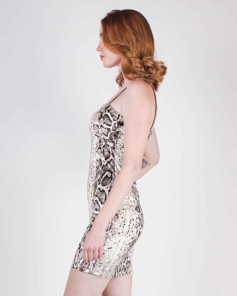Fashion Q Shop Q Ready for the Weekend Vibes Bodycon Dress (Snakeskin) D2356