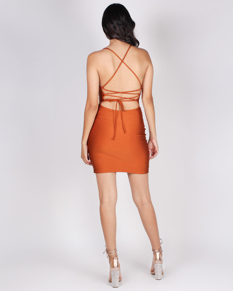 What, like it's Hard Bodycon Dress (Rust)