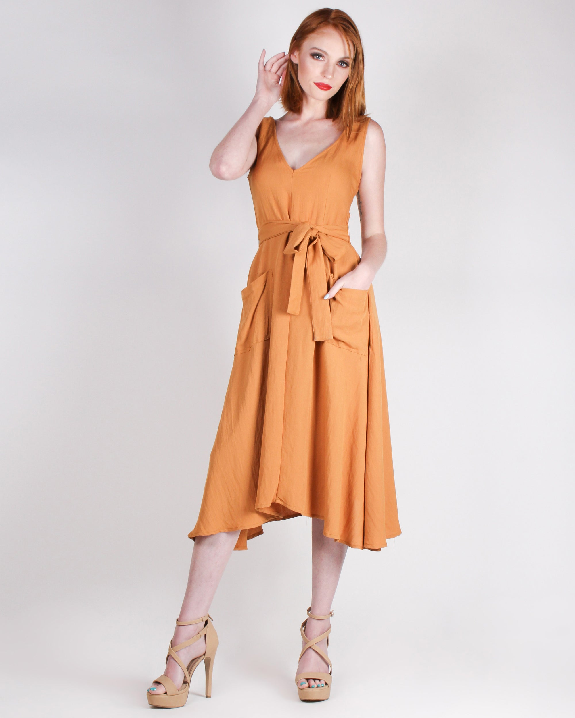 Fashion Q Shop Q Maximize Your Fun Midi Dress (Honey Amber) D2671S