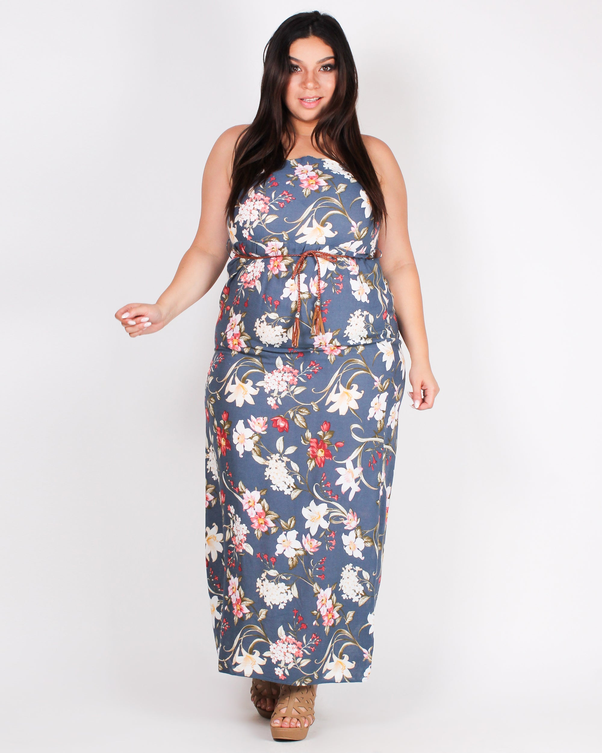 Fashion Q Shop Q Fall in Love with Floral Moments Plus Maxi Dress (Dusty Blue) D2837XS
