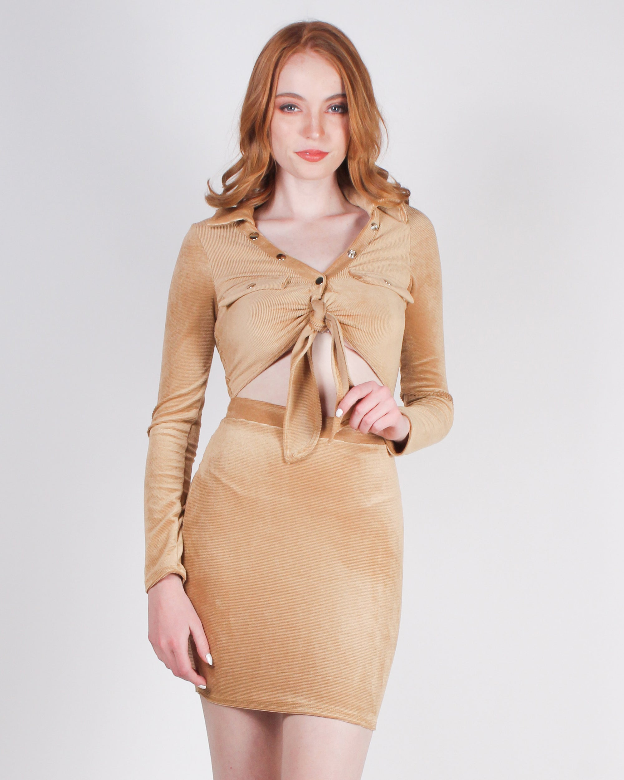 Fashion Q Shop Q Fashion is Art and You are the Canvas Cutout Bodycon Dress (Champagne) D5486