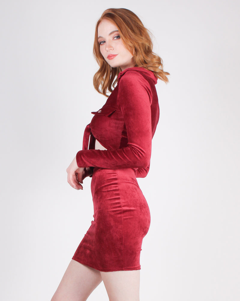 Fashion Q Shop Q Fashion is Art and You are the Canvas Cutout Bodycon Dress (Burgundy) D5486