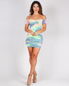 Ruche of Color Bodycon Dress (Neon Tie Dye)