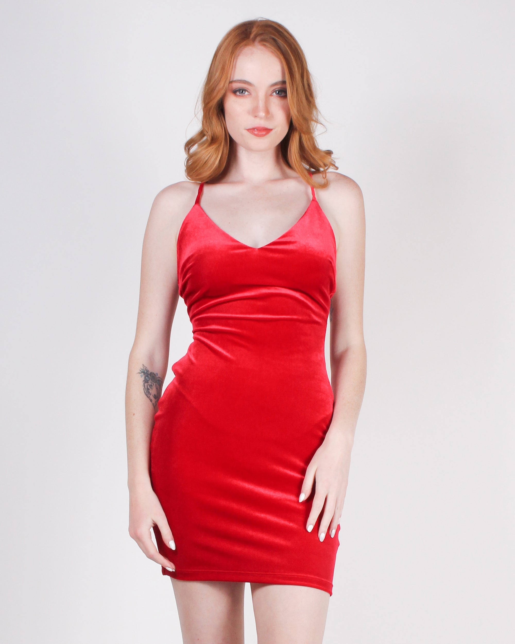 Fashion Q Shop Q Swagalistic Ultra-individualistic Velvet Bodycon Dress (Red) D6094QF