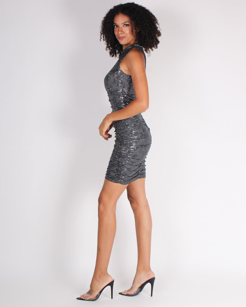 Sparkle, Shimmy, Shine Repeat Bodycon Dress (Black)