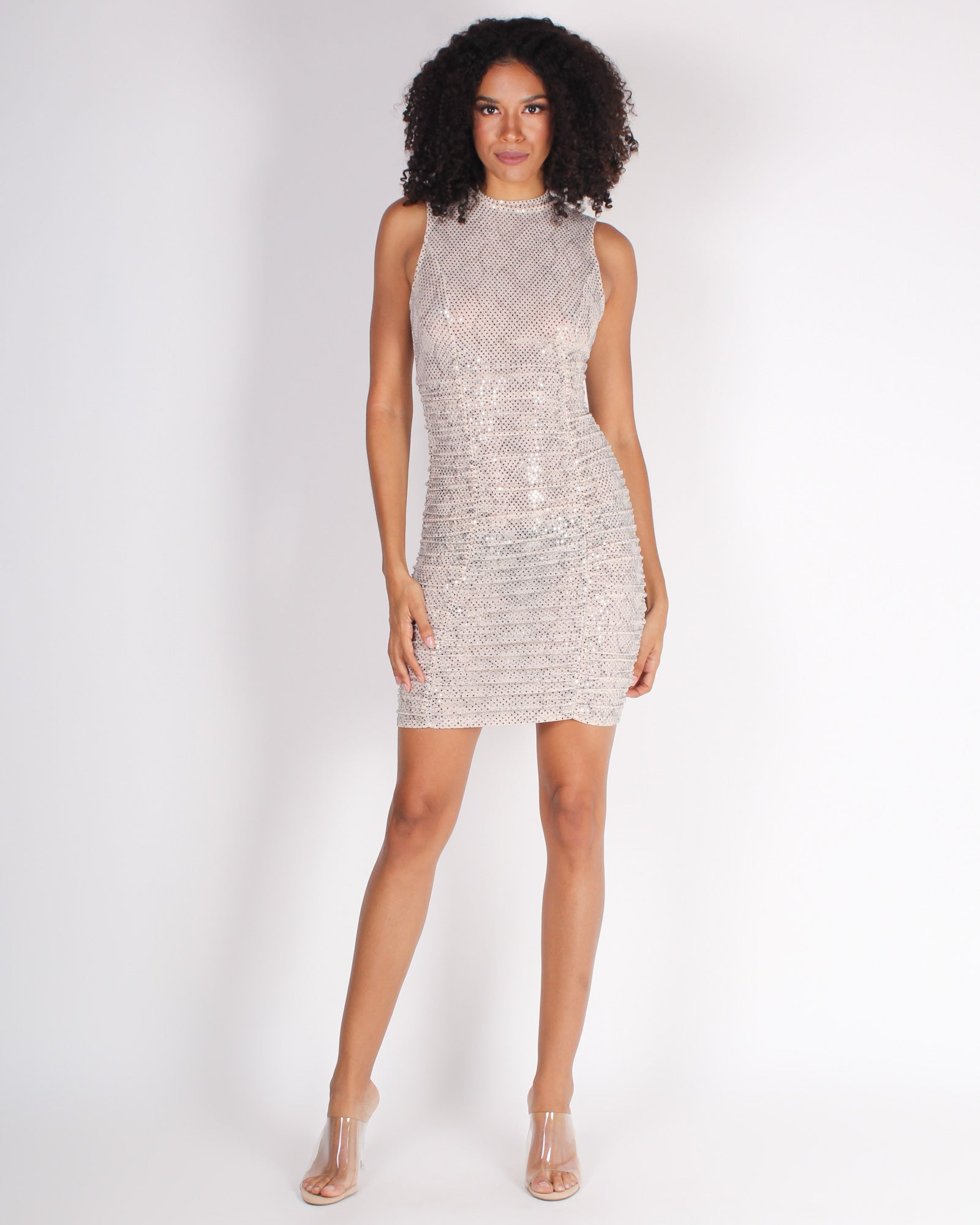 Sparkle, Shimmy, Shine Repeat Bodycon Dress (Nude)