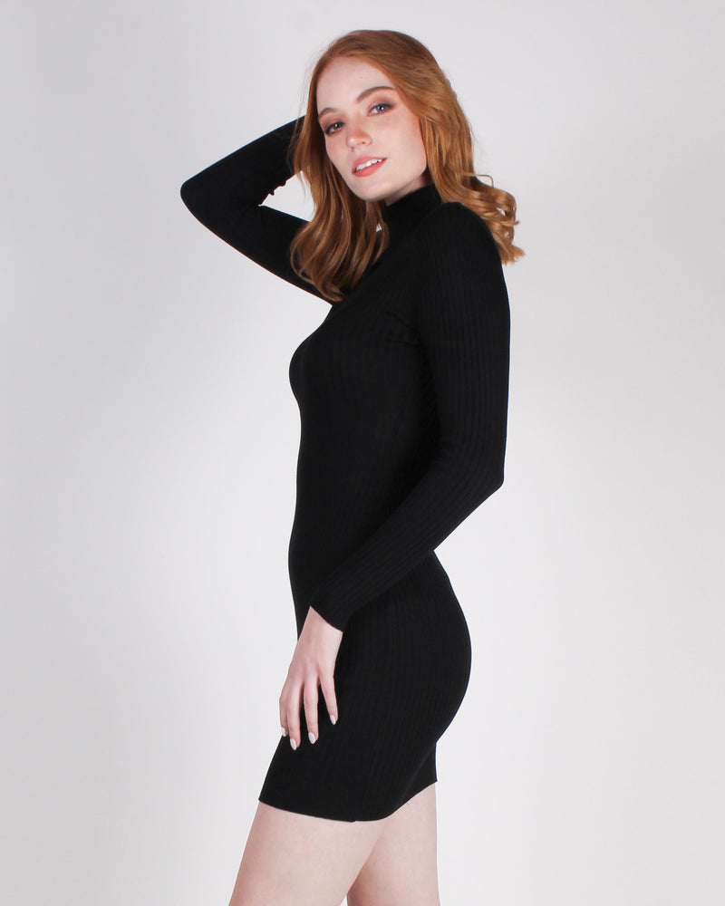 Fashion Q Shop Q Daydreamer and a Night Thinker Turtleneck Bodycon Dress (Black) DGI2135