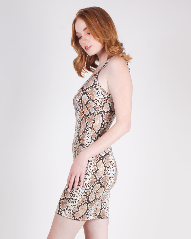 Just Say Yes Snakeskin Bodycon Dress (Snakeskin)