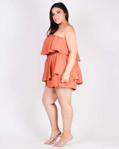 Oh Happy Day Flounce Plus Romper (Copper)