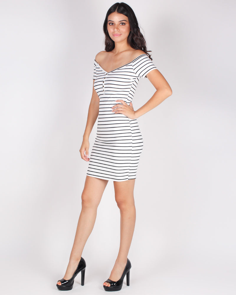 Look Too Good to Give AF Off the Shoulder Bodycon Dress (White)