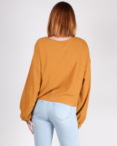 Fashion Q Shop Q Just One More Episode Long Sleeve Top (Mustard) DZ19G663