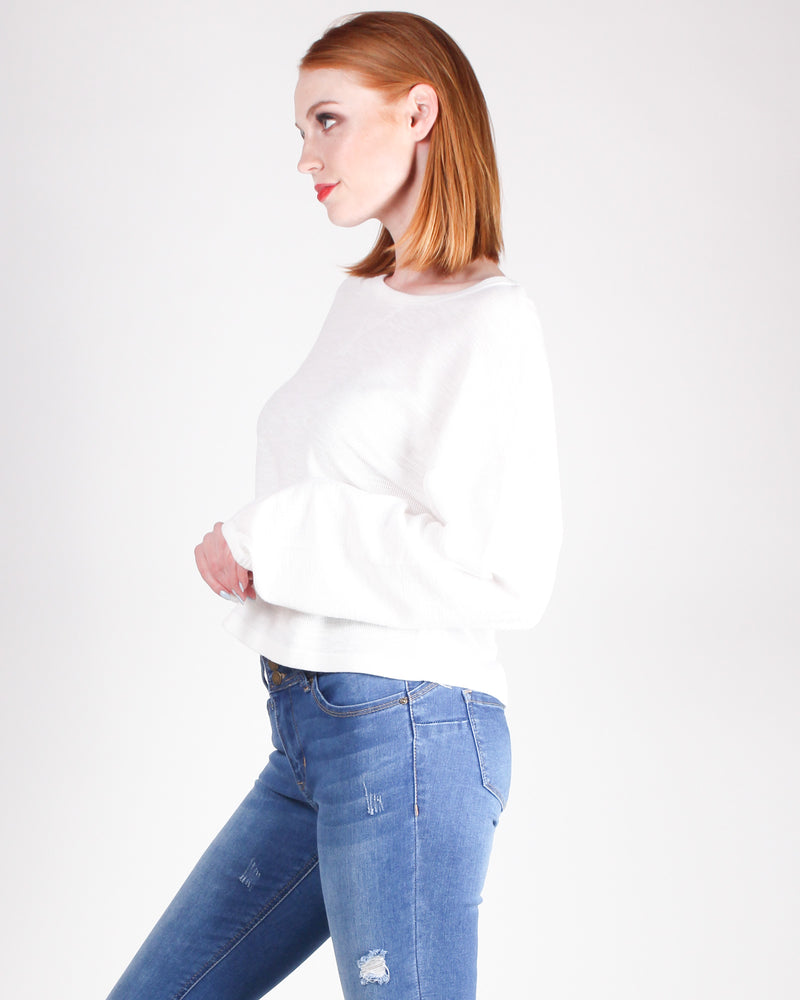 Just One More Episode Long Sleeve Top (Off White)