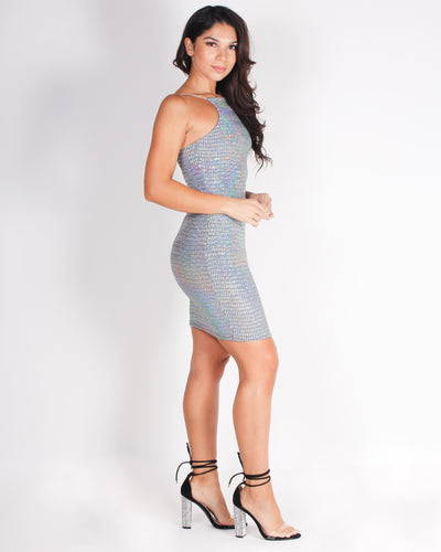 Fashion Q Shop Q Sparkle, Twinkle, Dazzle and Shine Bodycon Dress (Silver) ED1786