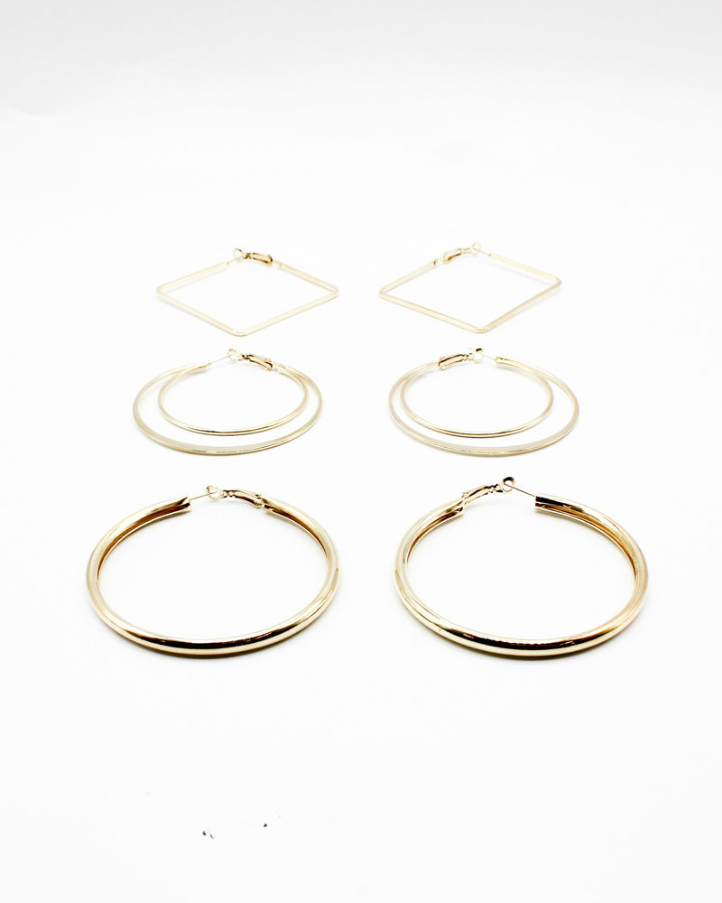 Fashion Q Shop Q Keep Your Head Up Hoop Earring Sets (Gold) EHP-2245-00A