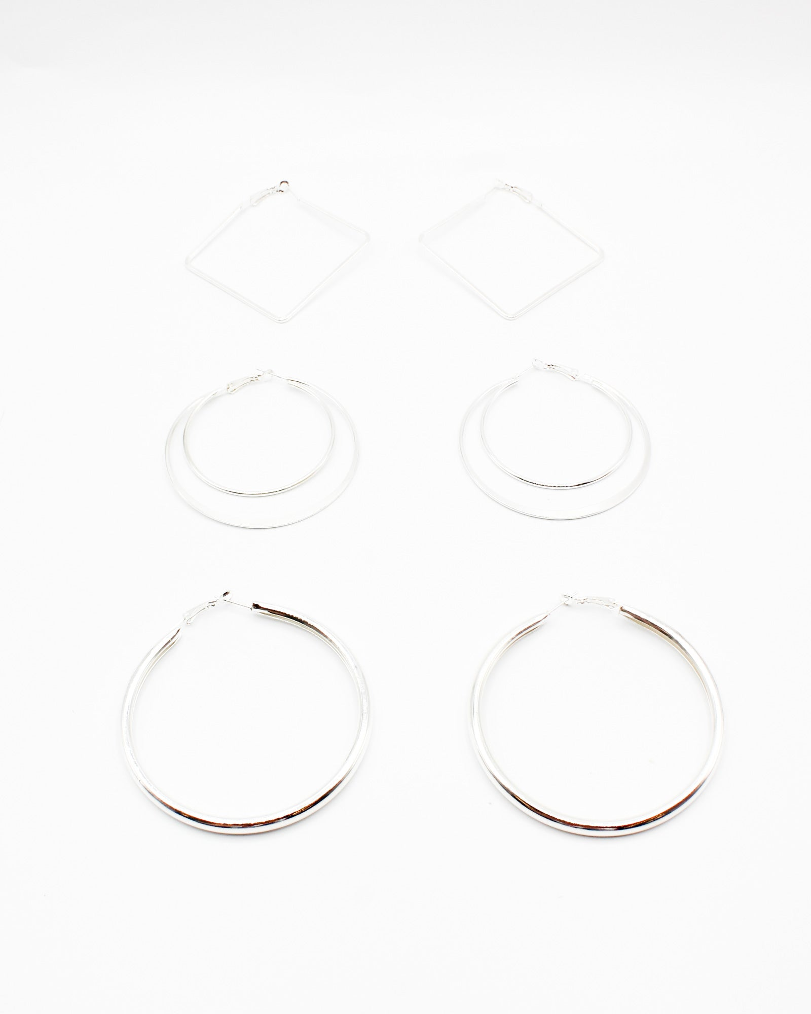 Fashion Q Shop Q Keep Your Head Up Hoop Earring Sets (Silver) EHP-2245-00A