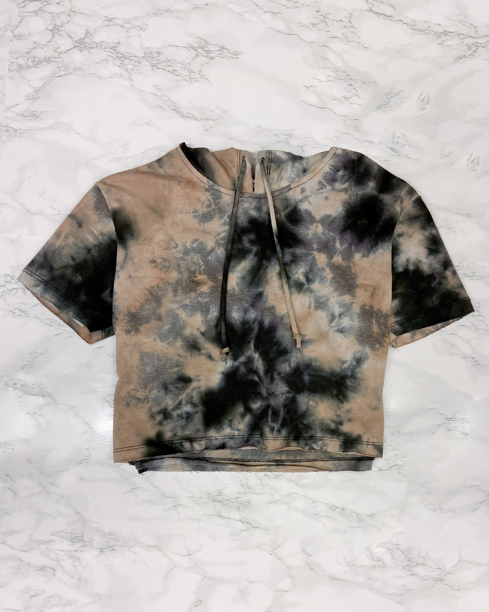 Fashion Q Shop Q Give Peace a Chance Tie Dye Hoodie Crop Top Black FH35281T24