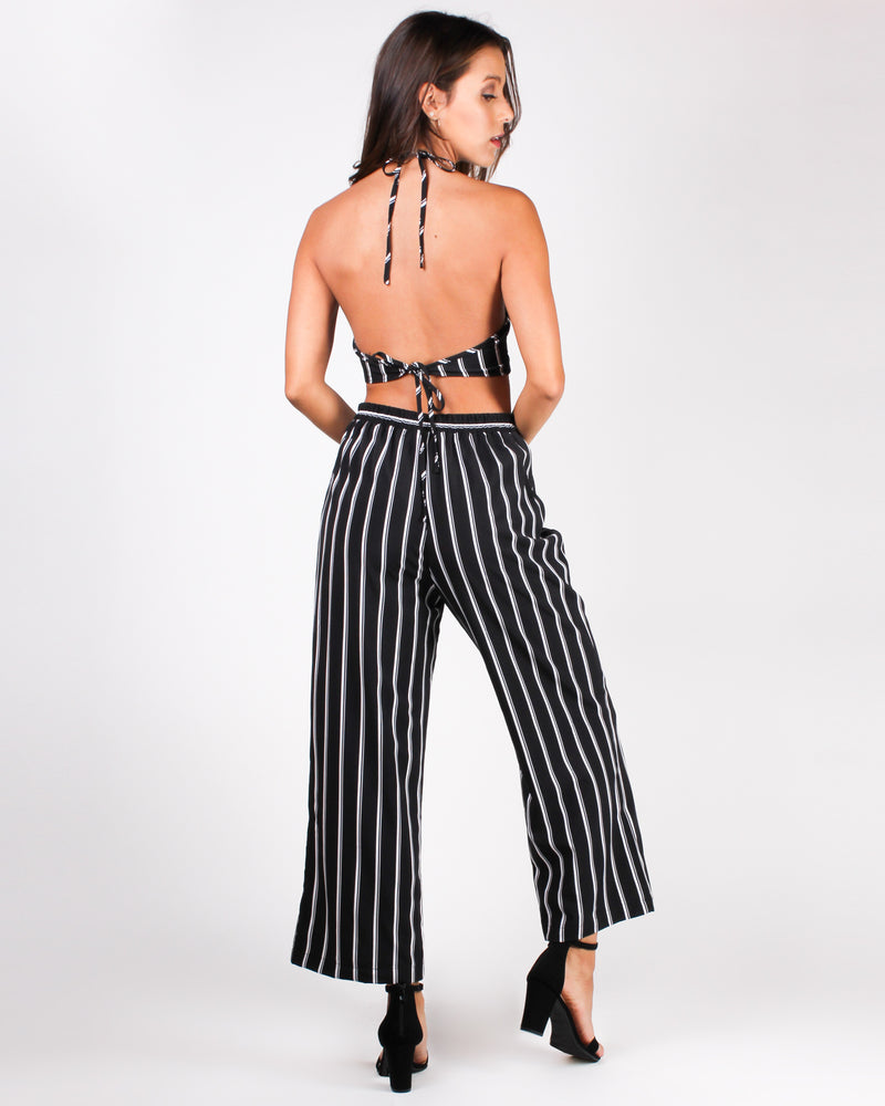 Get Your Striping Happy On Crop and Pant Set (Black)