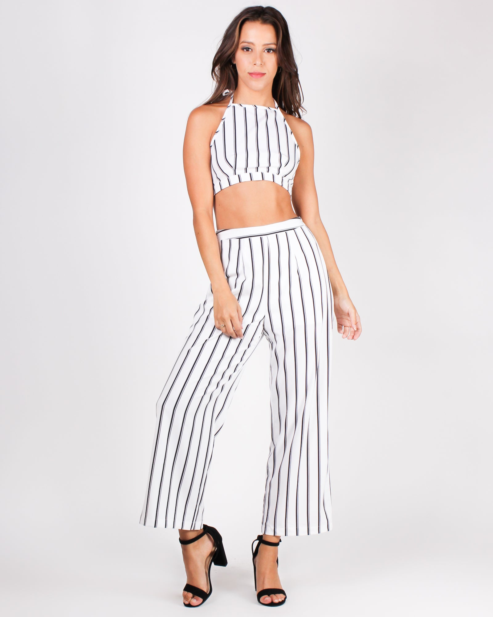 Get Your Striping Happy On Crop and Pant Set (Off White)