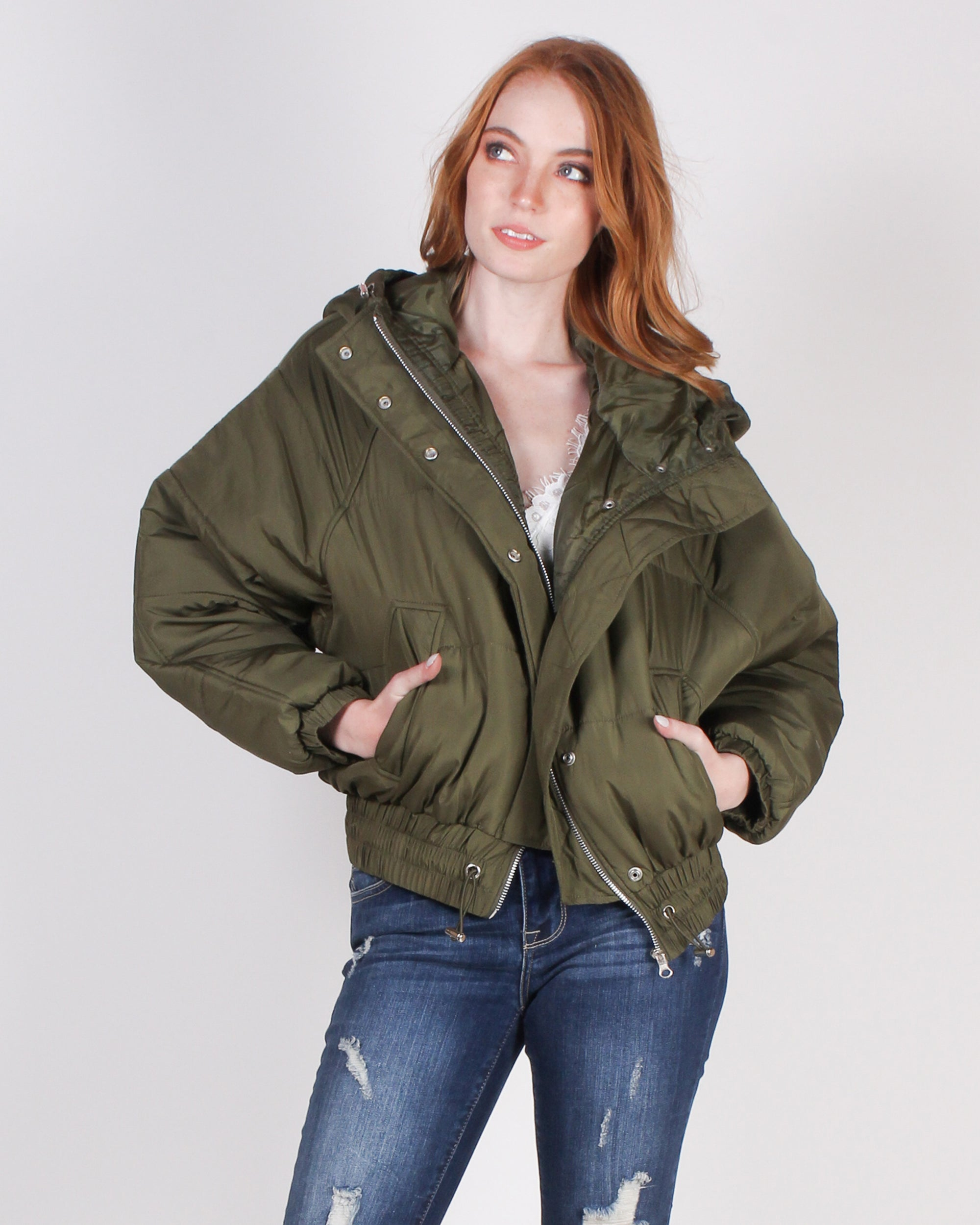 Fashion Q Shop Q Places to Go in Style Bomber Jacket (Olive) FL19H009