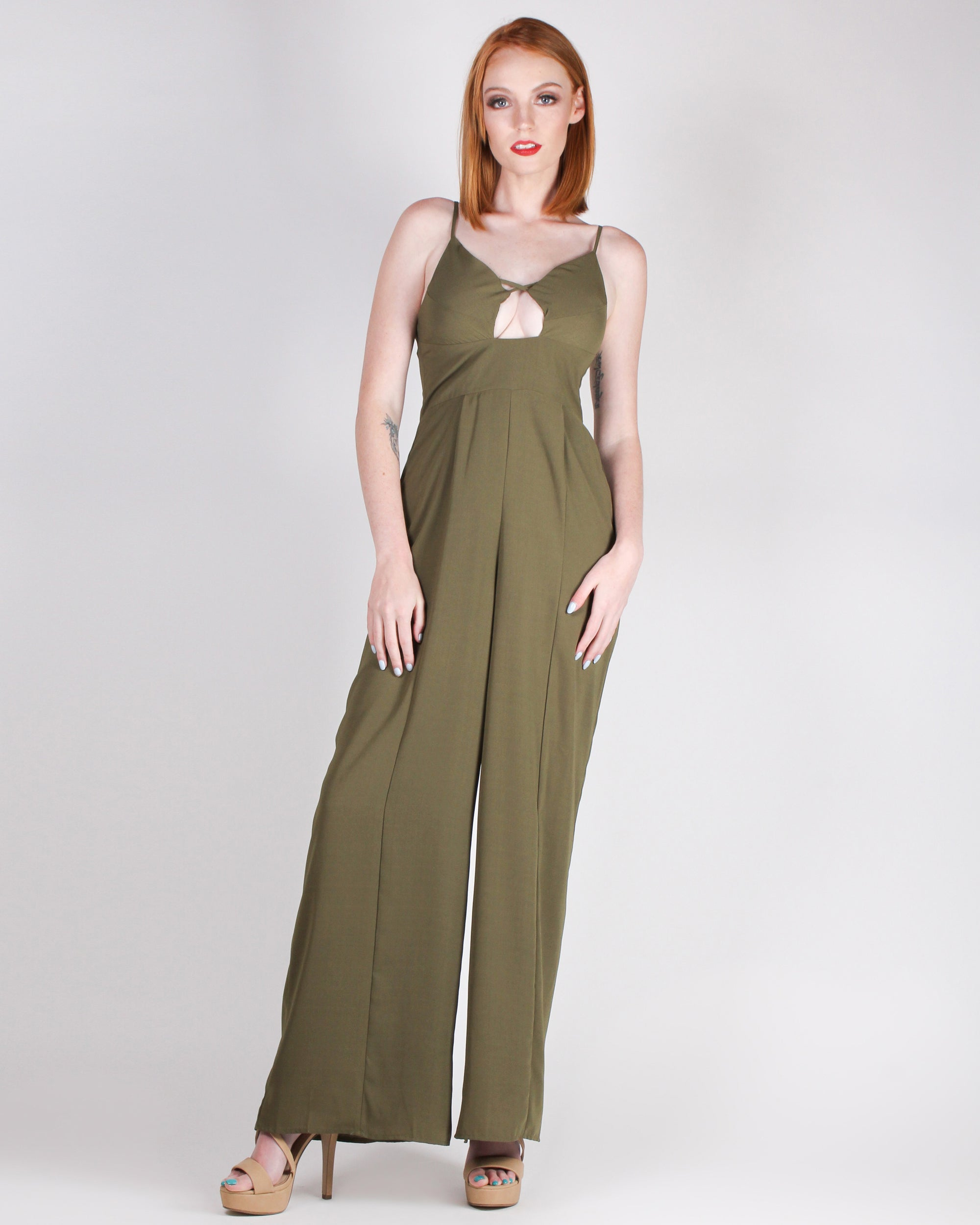 Fashion Q Shop Q You are a Glamazon Jumpsuit (Olive) FL19H098