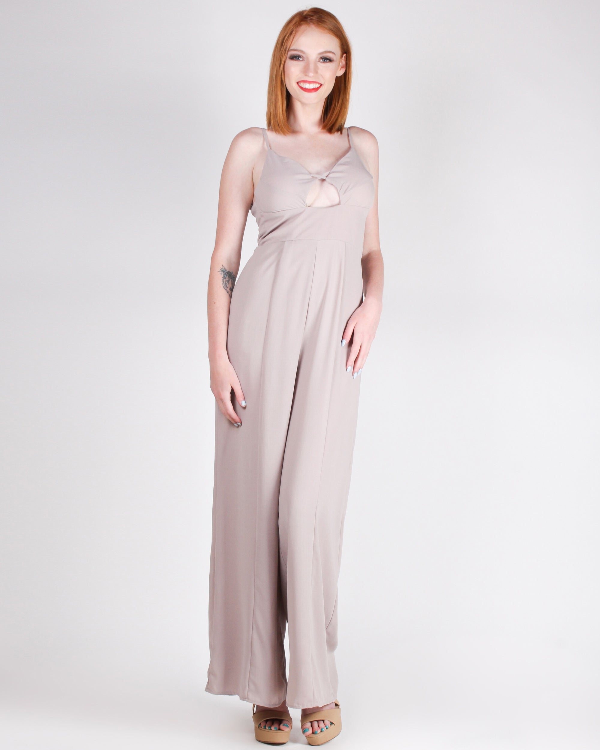 Fashion Q Shop Q You are a Glamazon Jumpsuit (Taupe) FL19H098