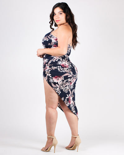 Floral-ize Me Sexy Bodycon Plus Dress