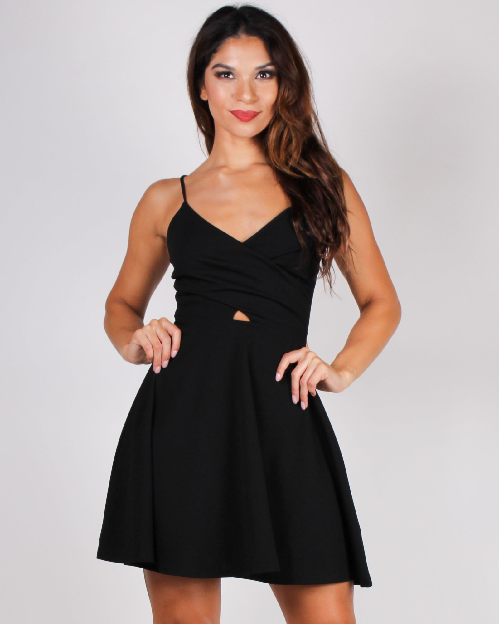 This is Your Moment Cut-out Skater Dress (Black)