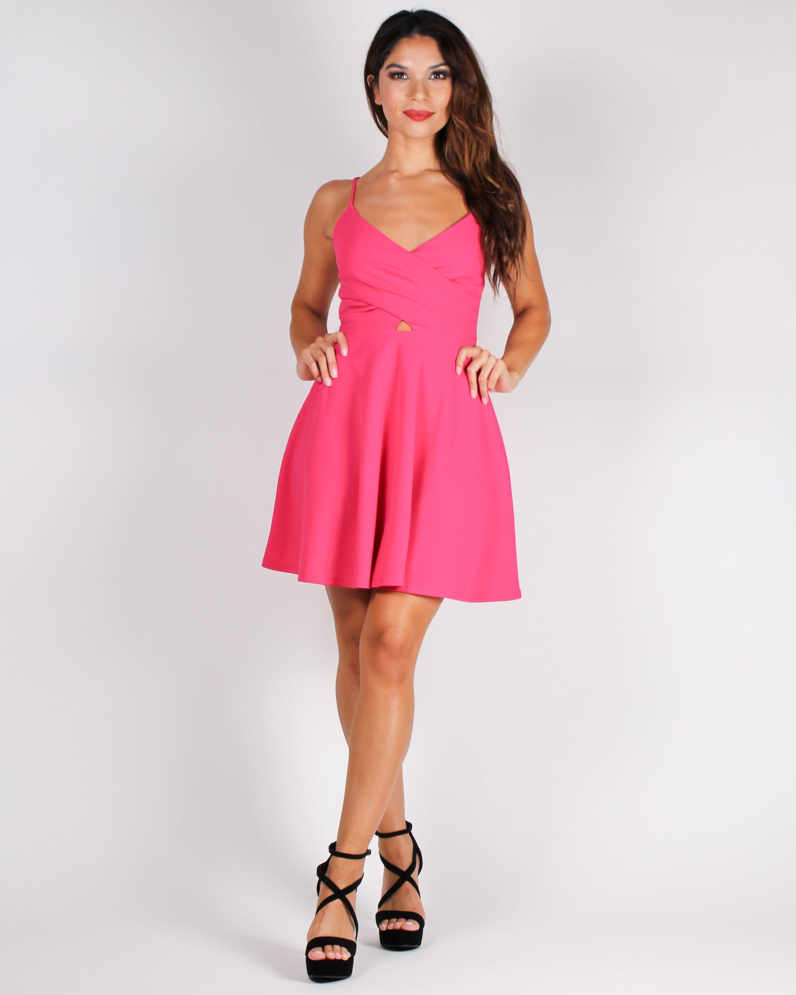 This is Your Moment Cut-out Skater Dress (Fuchsia)