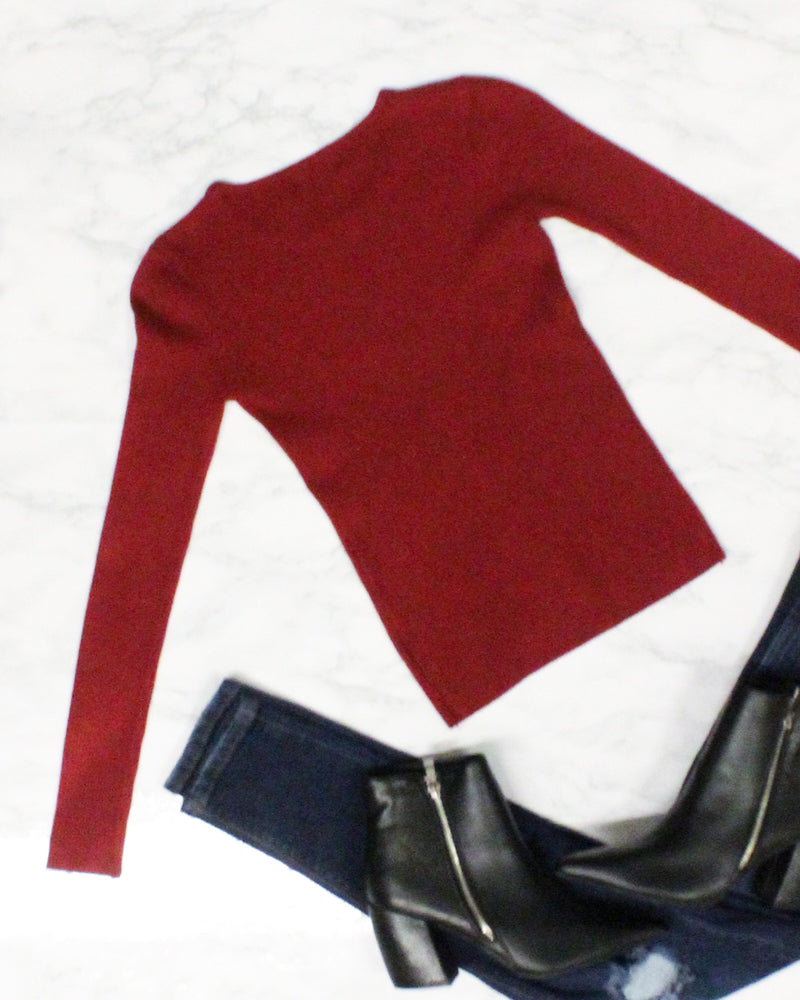 Live the Life You Imagined Long Sleeve Top (Burgundy) GT2726