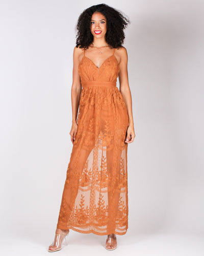 Fashion Q Shop Q You are Magical Maxi Dress (Cognac) HMD11052