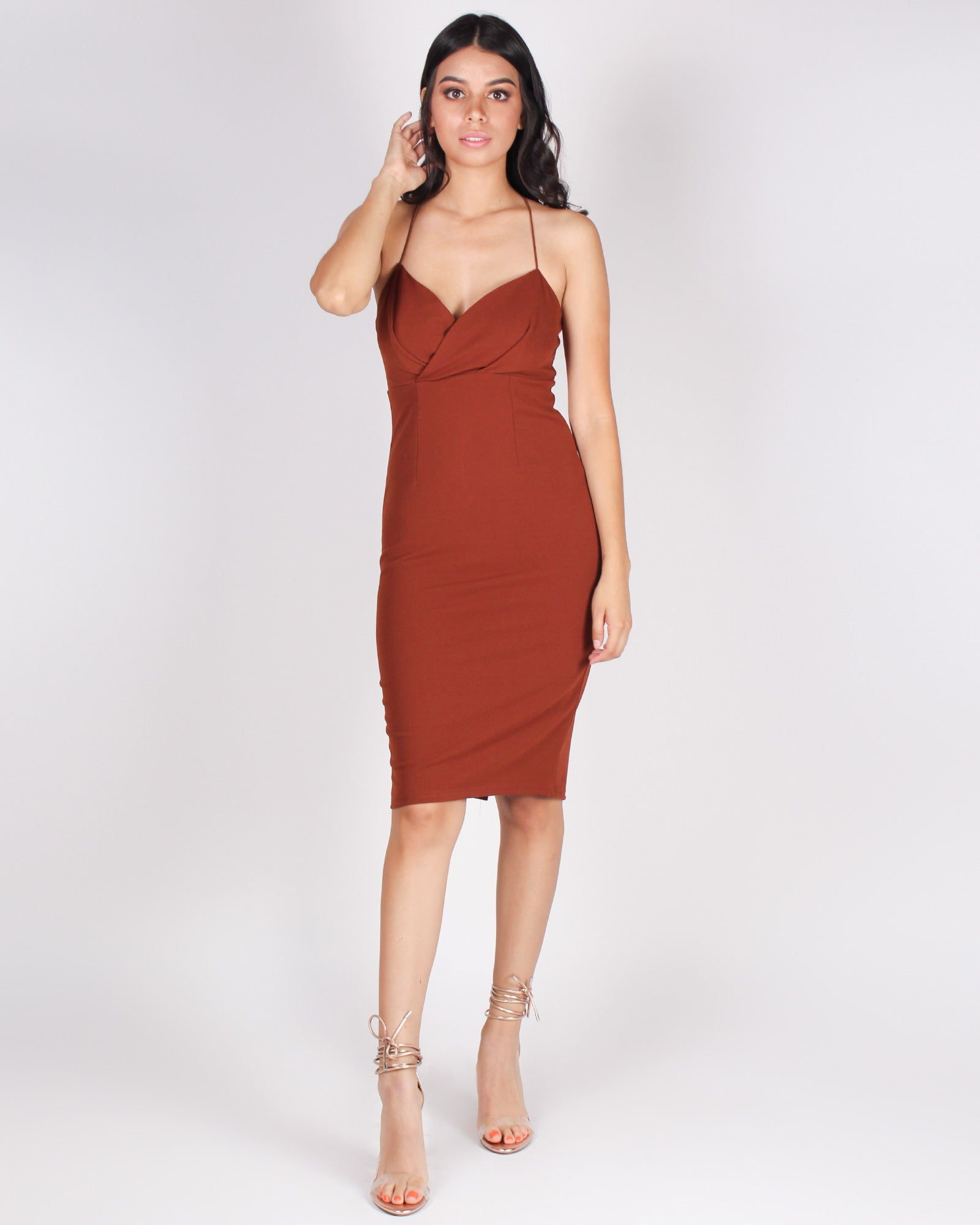 Fashion Q Shop Q Cheers to the Night Bodycon Dress (Rust) HMD12081