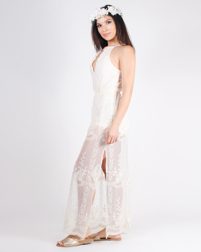 The Best Days are Beach Daze Boho Maxi Dress (Off White)