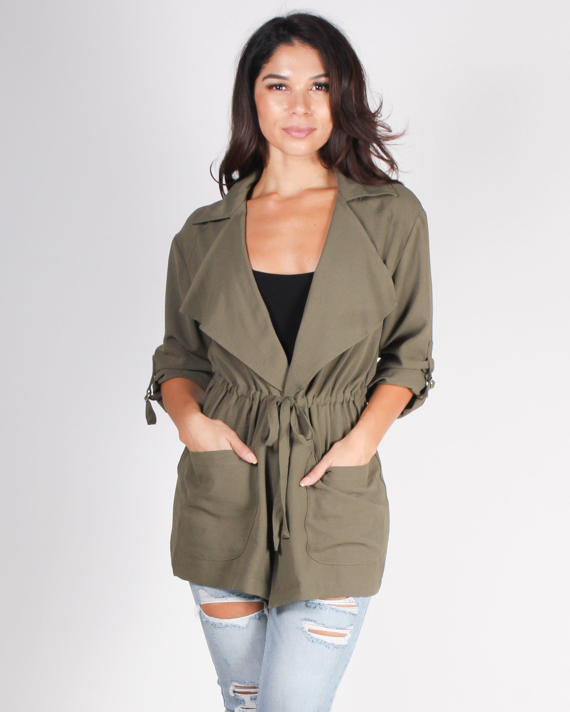 Fashion Q Shop Q All That You Want Lightweight Trench (Olive) HMJ20321