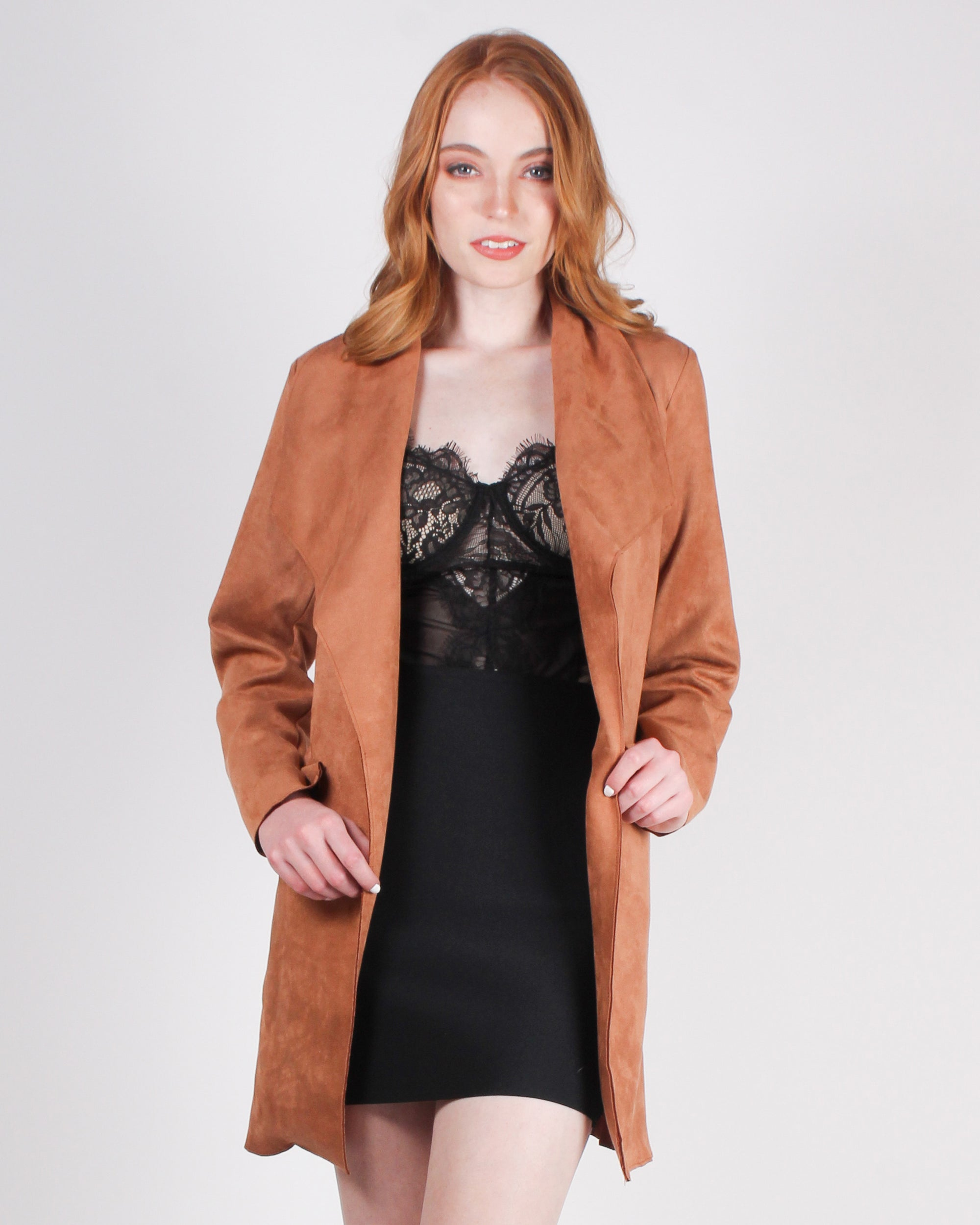 Fashion Q Shop Q My Heart Says Yes Faux Suede Draped Collar Jacket (Cognac) HMJ20383