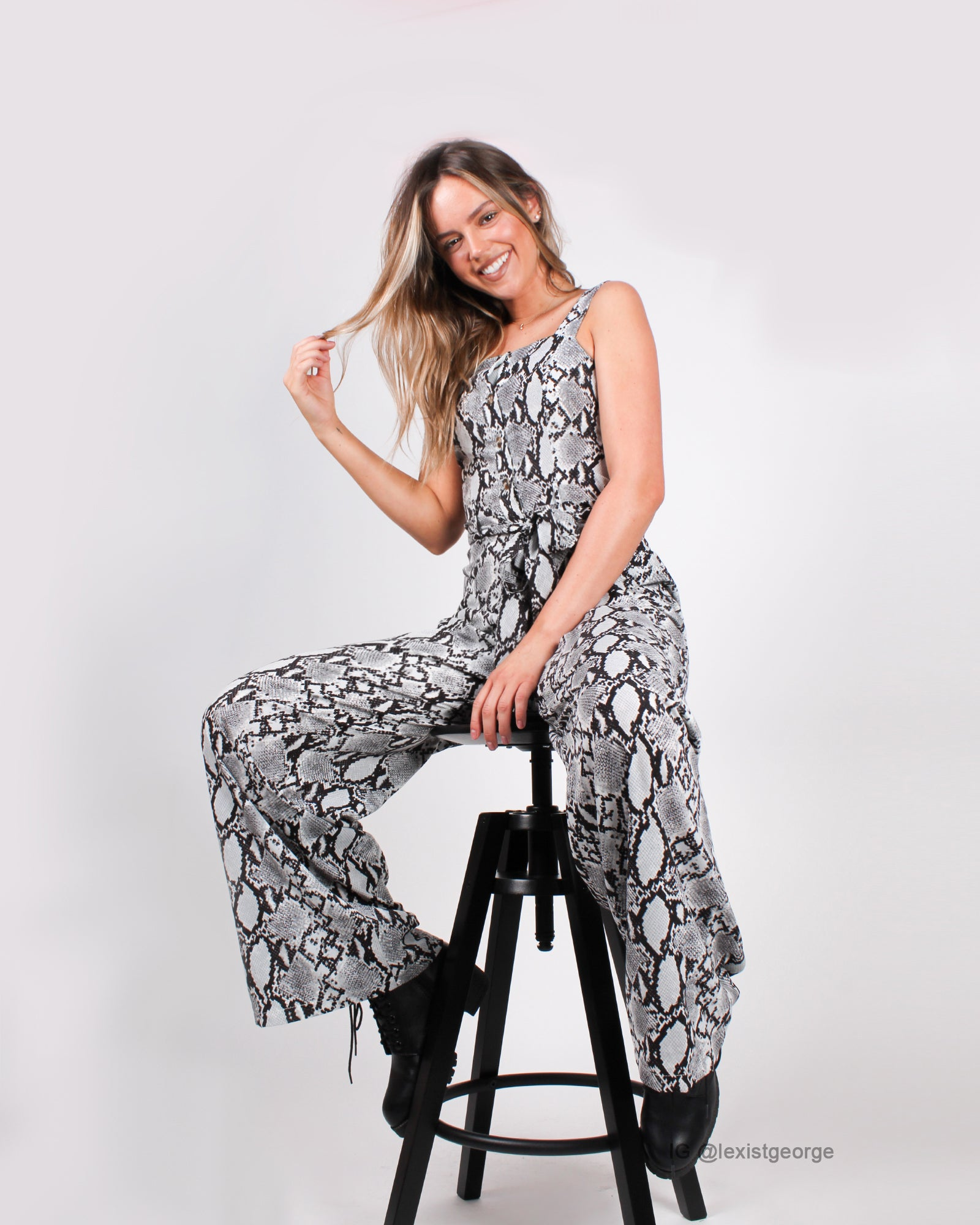 Shed Some Light Snakeskin Jumpsuit