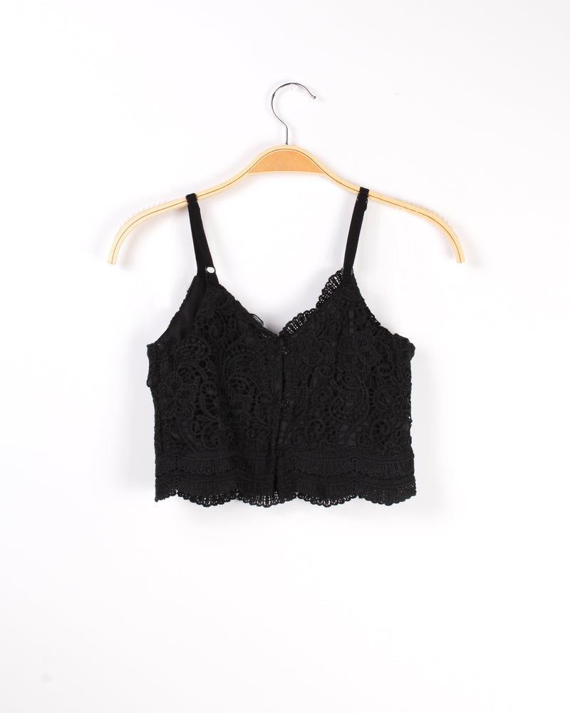 The Good Gets Better Lace Crop Top (Black)