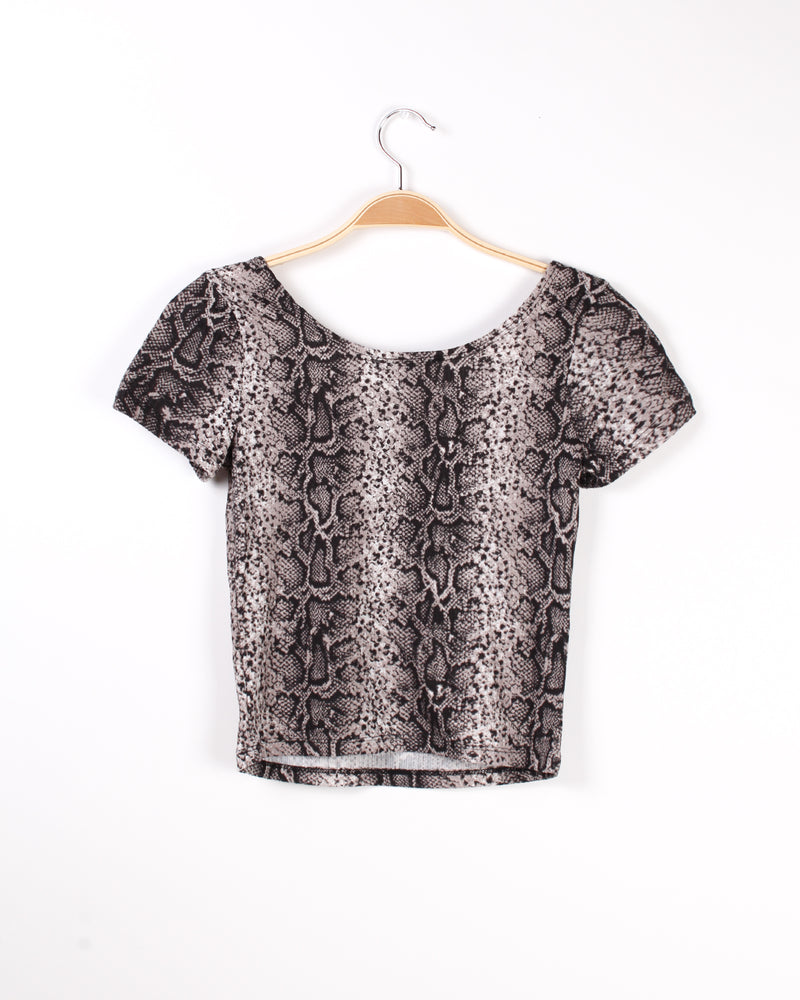 Beware, I'm Fearless Snakeskin Top (Brown)