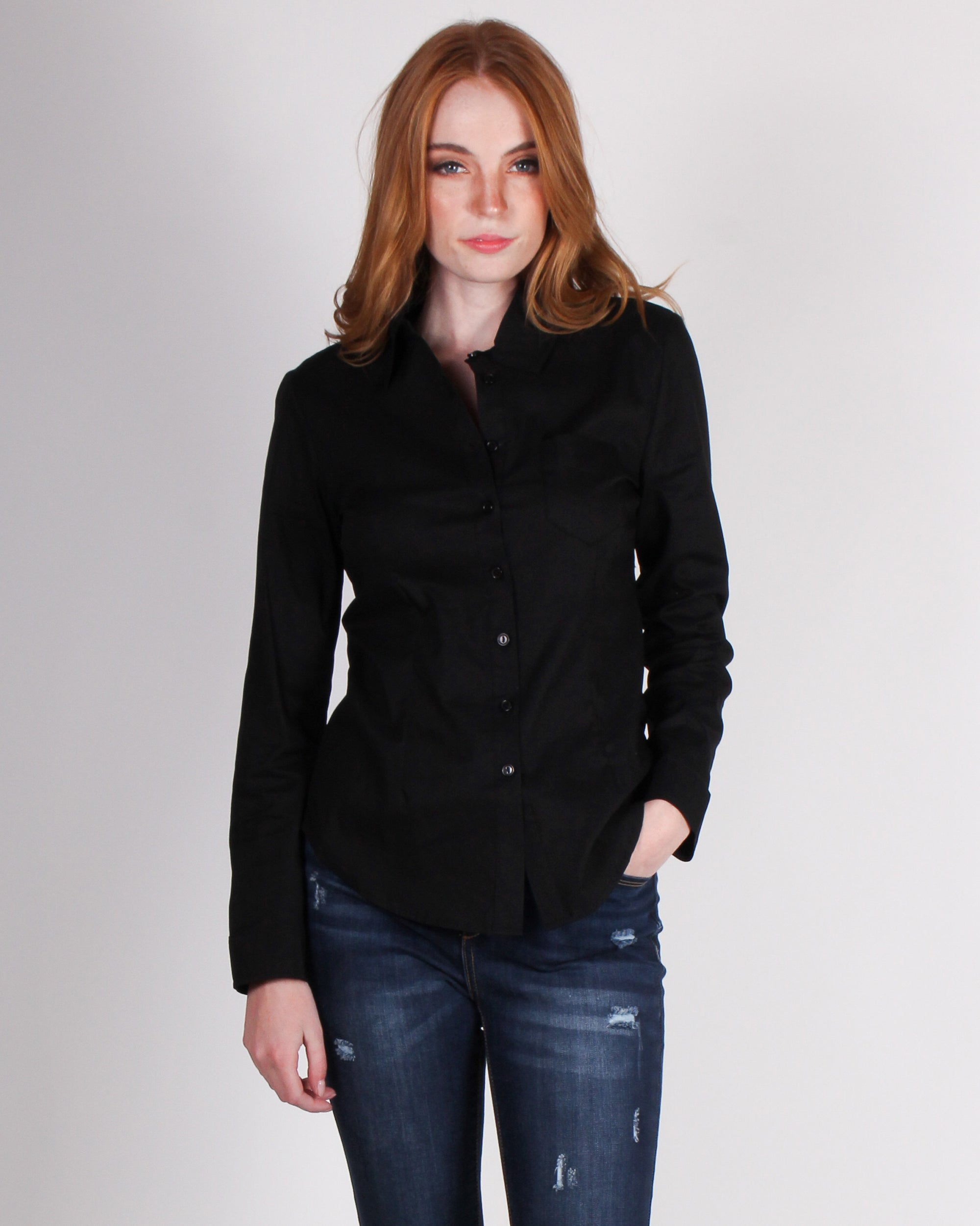 Fashion Q Shop Q High Standards Button Up Top (Black) HT4106