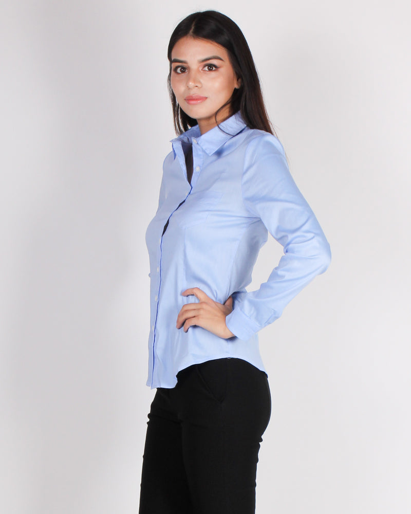 Fashion Q Shop Q High Standards Button Up Top (Blue) HT4106