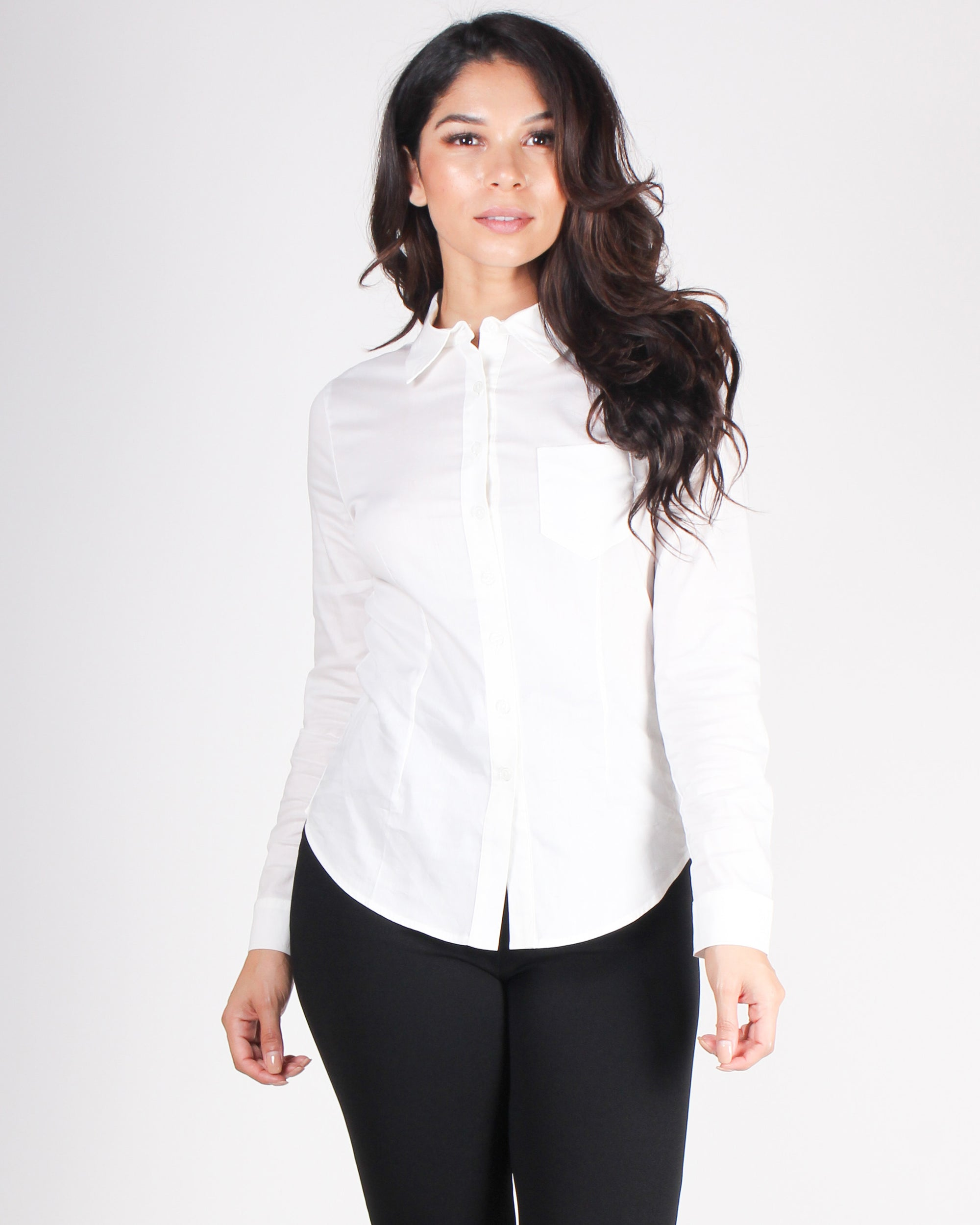 Fashion Q Shop Q High Standards Button Up Top (White) HT4106