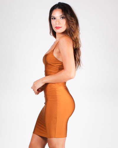 You're My Happy Place Bodycon Dress (Caramel)