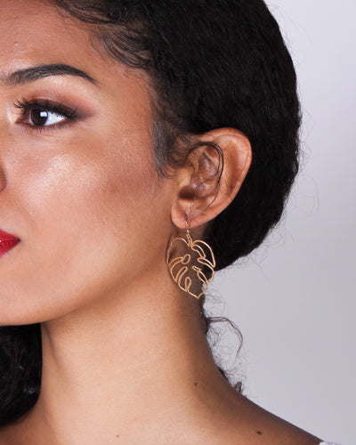 Find Me Under the Palm Gold Dangle Earrings IH11278