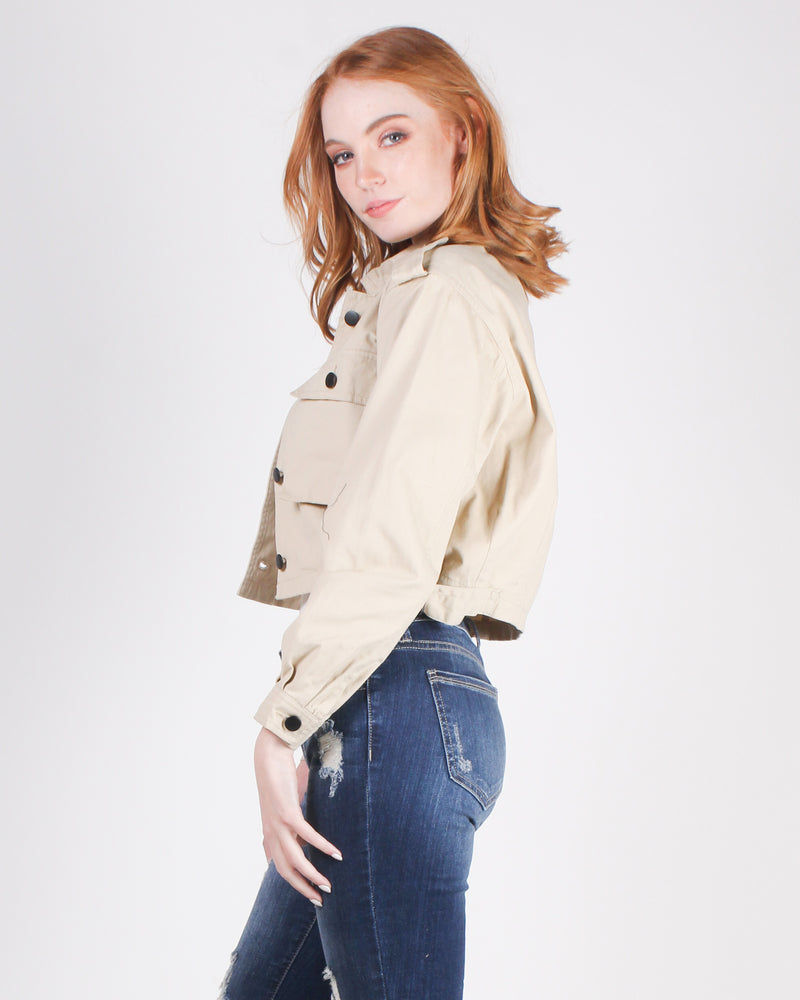 Fashion Q Shop Q I'm Nicer When I like My Outfit Cropped Jacket (Beige)  IJ99069