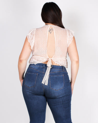 Fashion Q Shop Q You are Irreplaceable Lace Plus Top (Light Peach) IT4017-1