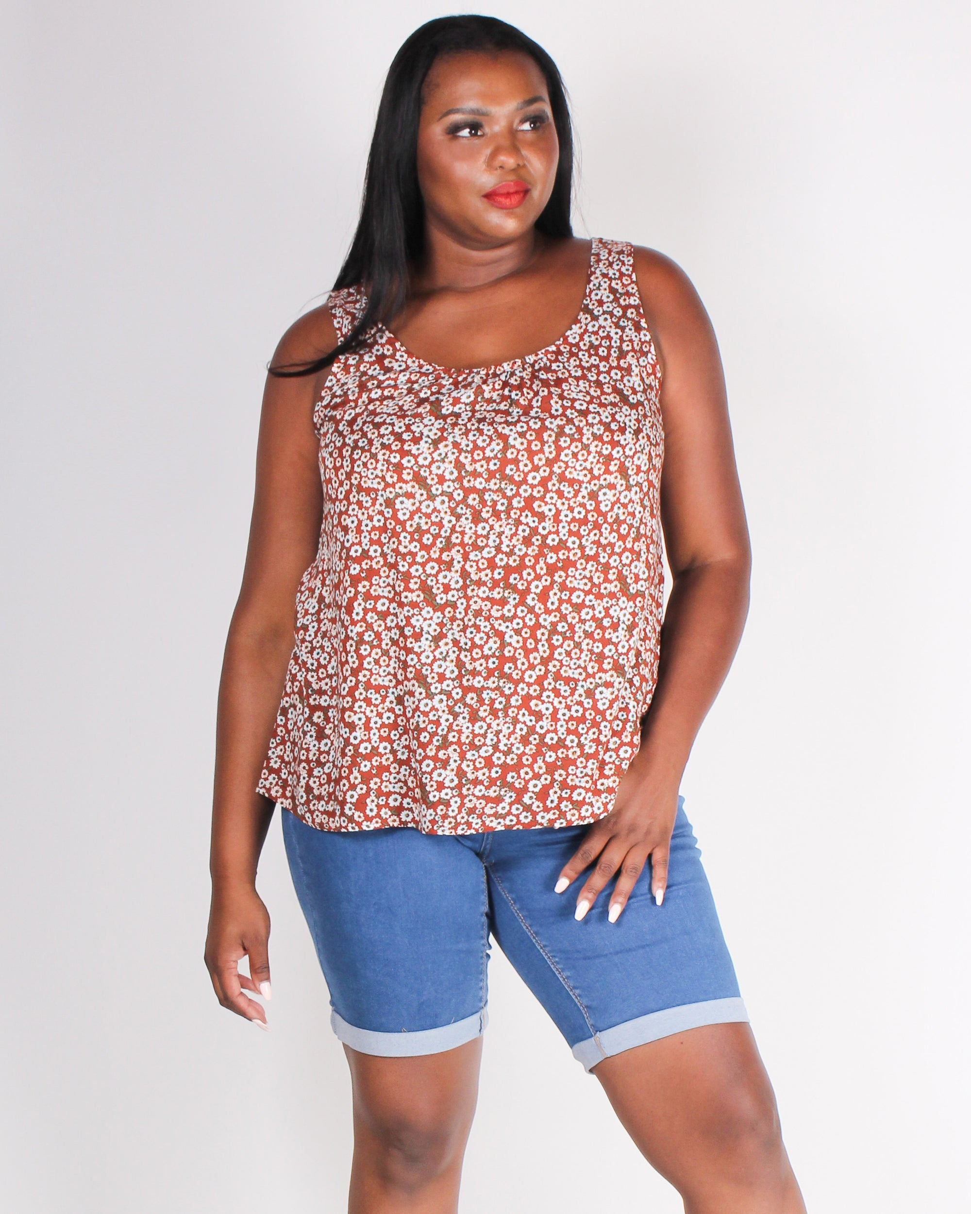 Fashion Q Shop Q Baby, You Got it Floral Plus Tank Blouse (Rust) IT4080