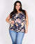 Life is Sweeter in Floral Plus Top (Navy)