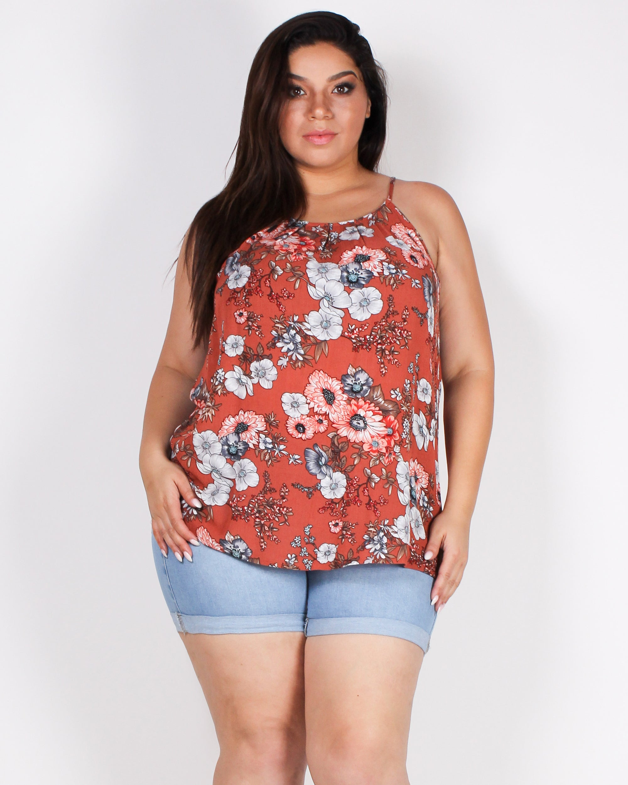 Life is Sweeter in Floral Plus Top (Rust)