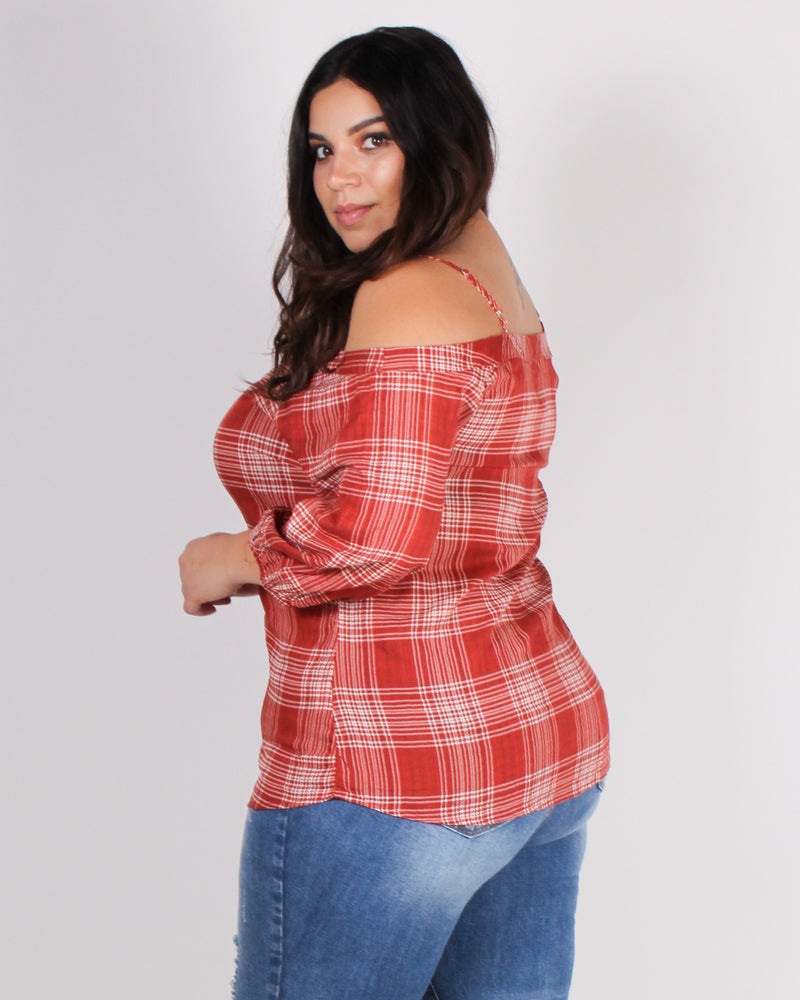 Fashion Q Shop Q Food, Friends and Sunshine Plaid Blouse (Rust) IT4152