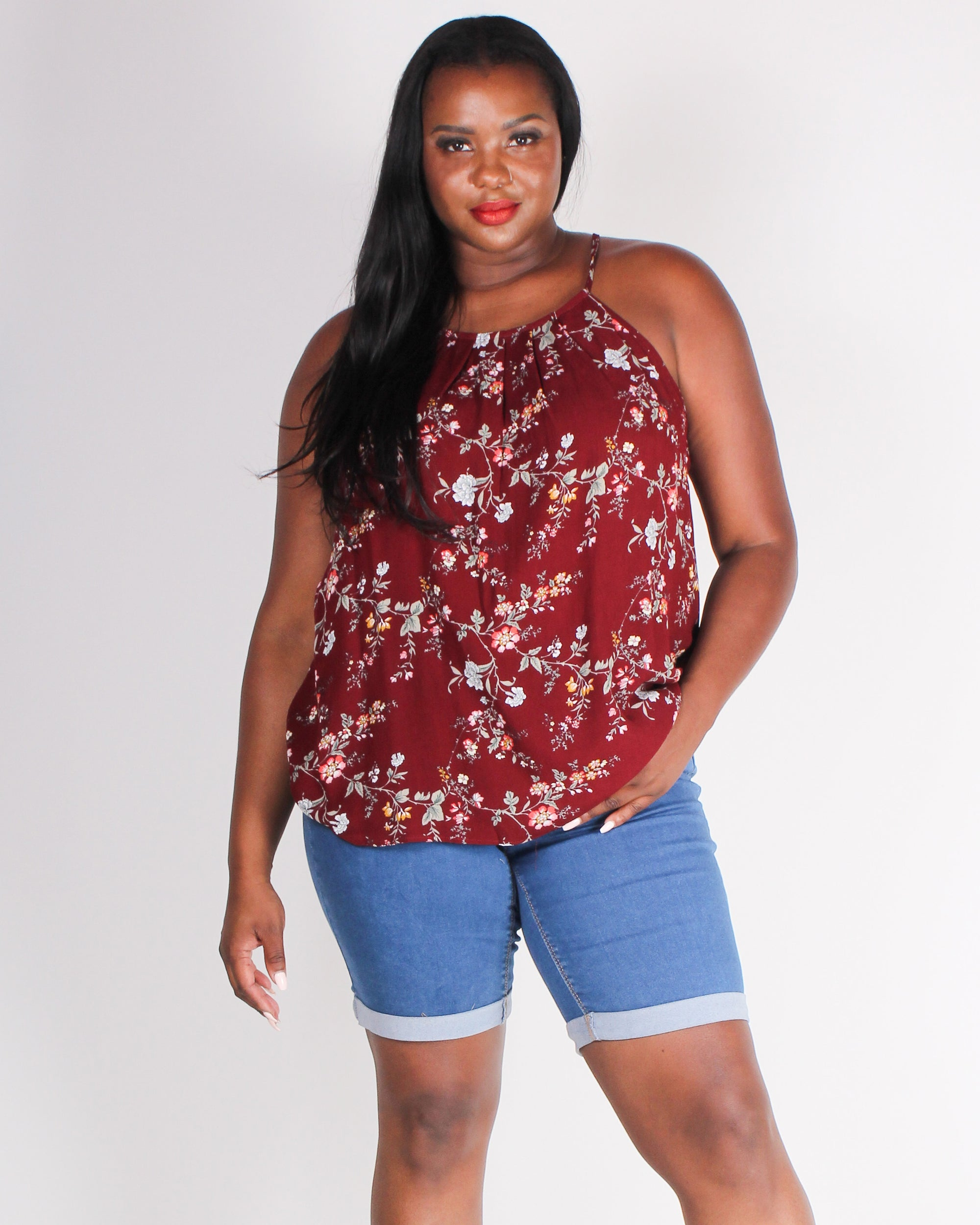 Fashion Q Shop Q Need You to Be You Floral Plus Tank (Burgundy) IT4205