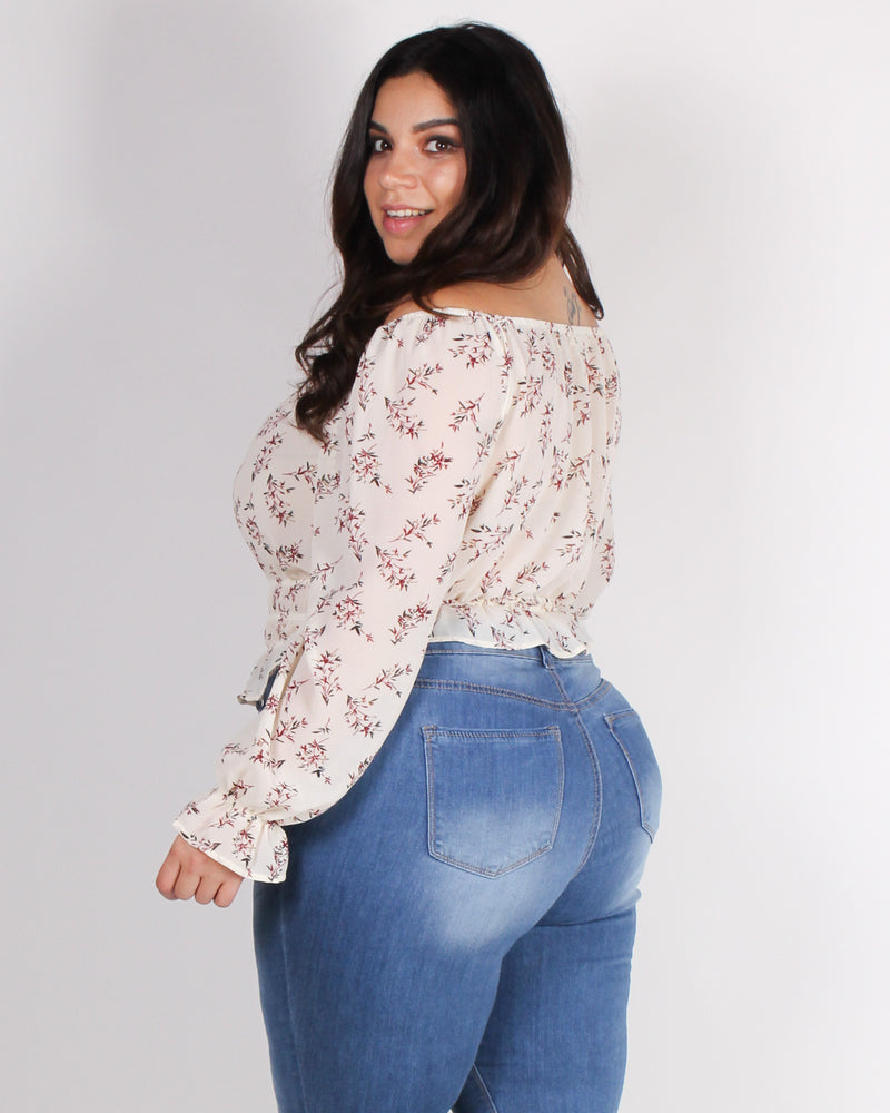 Fashion Q Shop Q Glow Up and Let Your Wild Out Off the Shoulder Blouse (Ivory) IT4221